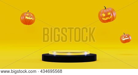 Halloween Background With A Podium For Product Presentation, 3d Render. Pumpkins And A Pedestal On A