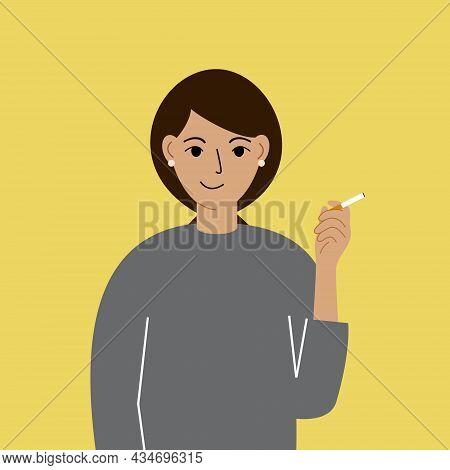 Smoke Break. The Woman Smokes A Cigarette, Satisfied. Nicotine Addiction. Smoking Area. Vector Illus