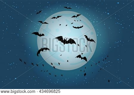 Spooky Black Bats Group On Fullmoon Background. Halloween Night Starry Sky With Silhouettes Of Flyin