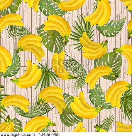 Bananas And Leaves On A Wooden Background.colored Vector Pattern With Bananas And Leaves On A Wooden
