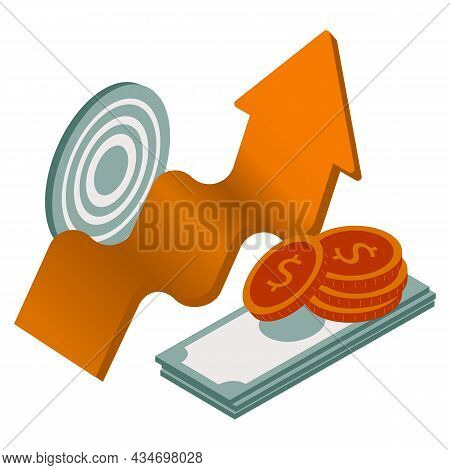 Conceptual Template With People Running Along Ascending Arrow Chart And Money. Increase In Revenue S