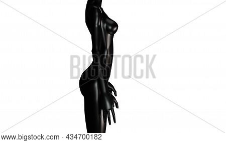 3d Mannequin Of A Black Woman Isolated On A White Background. Glossy Black Mannequin, Woman's Body,