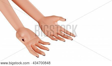 Beautiful Female Palms, Close-up. Hands With Manicure, 3d Render. Realistic Hands Of A Young Woman I