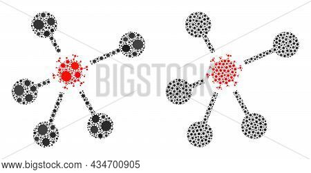 Vector Covid Composition Virus Network Created For Doctor Posters. Mosaic Virus Network Is Based On