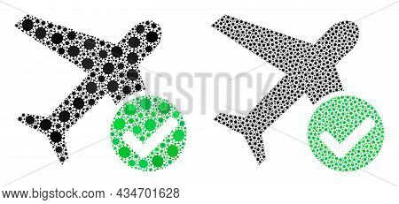 Vector Coronavirus Mosaic Accept Airplane Constructed For Hospital Advertisement. Mosaic Accept Airp