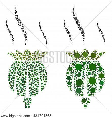 Vector Coronavirus Mosaic Opium Aroma Constructed For Doctor Purposes. Mosaic Opium Aroma Is Based O
