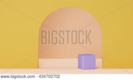 Scene With A Square Podium In Pastel Colors, 3d Render. Background For The Product Presentation. A S