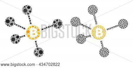 Vector Covid-2019 Mosaic Bitcoin Links Organized For Doctor Purposes. Mosaic Bitcoin Links Is Based