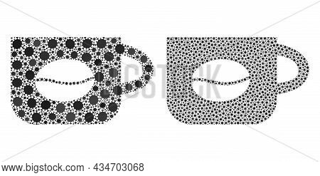 Vector Coronavirus Composition Coffee Cup Designed For Pandemic Advertisement. Mosaic Coffee Cup Is