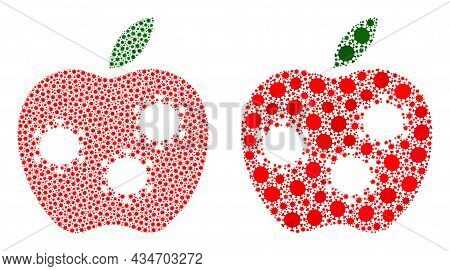 Vector Coronavirus Composition Infected Apple Constructed For Health Care Projects. Mosaic Infected