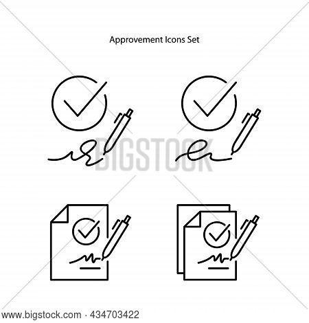 Approve Icons Set Isolated On White Background. Approve Icon Thin Line Outline Linear Approve Symbol