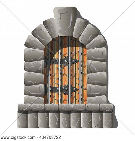 Castle Medieval Door With Grate Vector Cartoon And Fairytail Style, Realistic And Vintage Demanded.