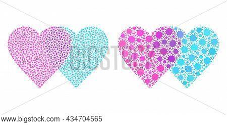 Vector Covid-2019 Mosaic Lovely Hearts Organized For Medicare Posters. Mosaic Lovely Hearts Is Based
