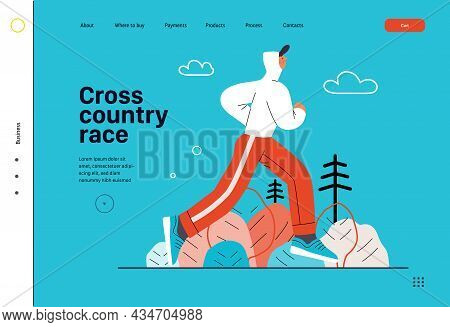 Runners - A Man Running And Exercising Outside, Website Template