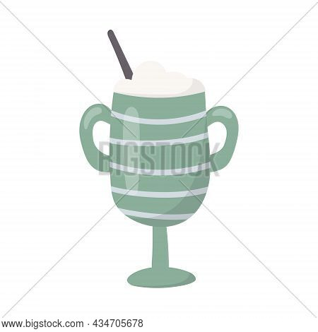 Vector Isolated Illustration Of A Glass Or Mug With Handles With Milkshake And Drinking Straw.