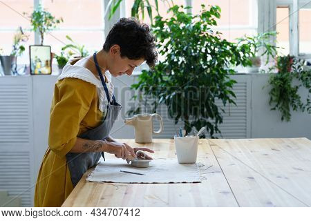 Girl Artisan At Work: Young Potter Lady, Ceramic Studio Small Business Owner Prepare Pottery Kitchen