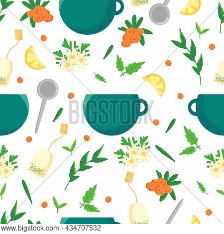 Seamless Pattern Afternoon Tea Time. A Hand-drawn Vector Set Of Elements Of The Tea Ceremony A Tea B