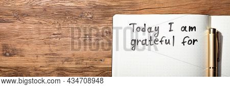 Gratitude Journal Concept. Conceptual Notebook Pages With Words