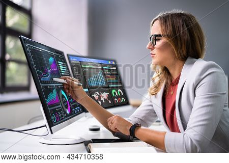Analyst Women Looking At Kpi Data On Computer Screen