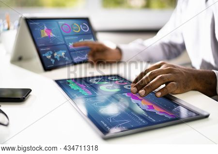 African Businessman Using Analytics Data Kpi Dashboard Tech