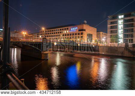 Berlin Germany - August 26 2017; Buildings Including Ard Hauptstadtstudio And Night Lights Along Spr