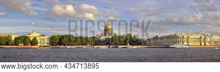 Panorama Of The Senate Square From The University Embankment. High Dome St. Isaac's Cathedral, Build