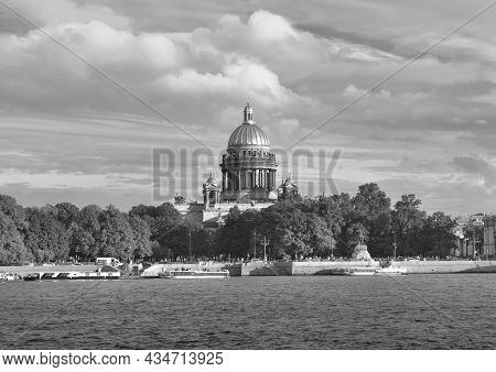 Senate Square With The University Embankment. High Dome Of St. Isaac's Cathedral, Bronze Horseman Mo