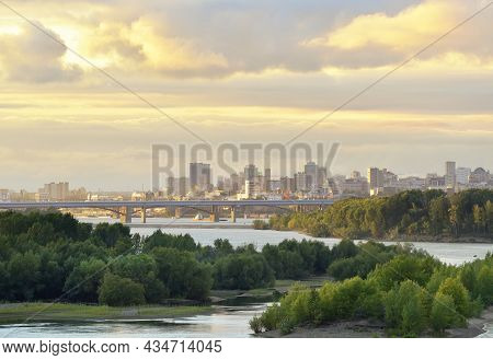 Novosibirsk On The Ob River In The Evening