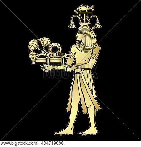 Animation Color Portrait: Egyptian God Hapi Presents River Gifts - Papyrus Flowers. God Of Fertility