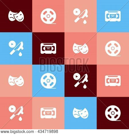 Set Pop Art Comedy And Tragedy Masks, Film Reel, Thriller Movie And Vhs Video Cassette Tape Icon. Ve