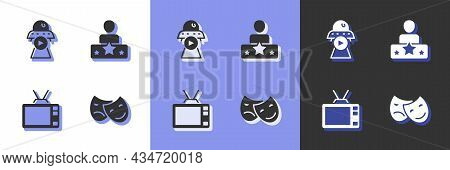 Set Comedy And Tragedy Masks, Science Fiction, Retro Tv And Actor Star Icon. Vector