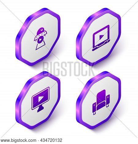 Set Isometric Science Fiction, Online Play Video, And Cinema Chair Icon. Purple Hexagon Button. Vect