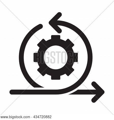 Agile Process Icon Vector Development Concept Gear And Arrow Sign For Graphic Design, Logo, Website,
