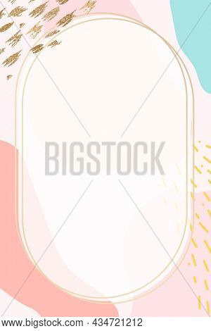 Oval gold frame on pastel Memphis background