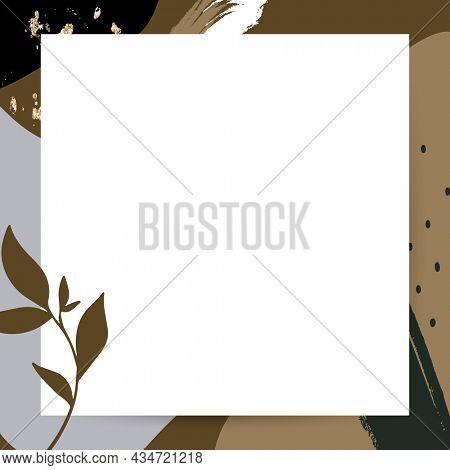 Botanical frame on brown Memphis background