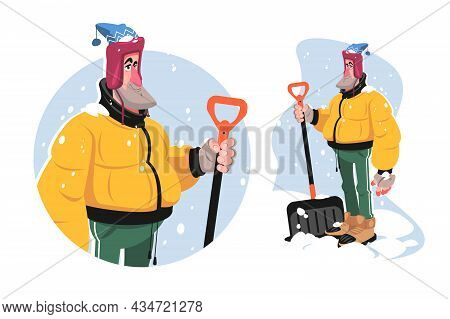 Man With Shovel Tool Vector Illustration. Adult Man In Winter Outfit Ready To Remove Snow Flat Style