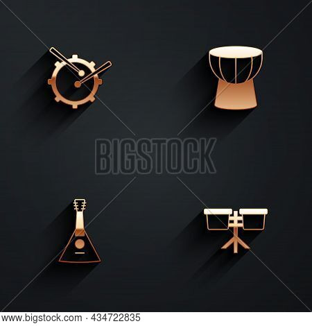 Set Drum With Drum Sticks, African Darbuka, Balalaika And Bongo Icon With Long Shadow. Vector