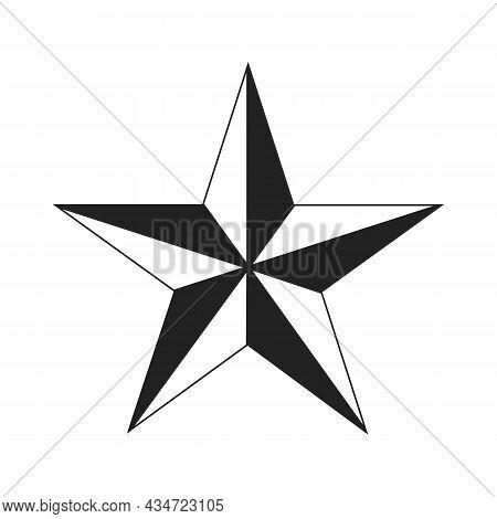 Five-pointed Black Star On White Background. Ussr Design Element. Communism, Socialism Sign. Vector
