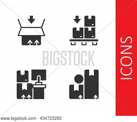 Set Carton Cardboard Box, Warehouse With Boxes And Cardboard Pallet Icon. Vector