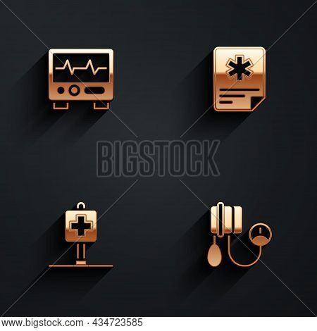 Set Monitor With Cardiogram, Patient Record, Location Hospital And Blood Pressure Icon With Long Sha