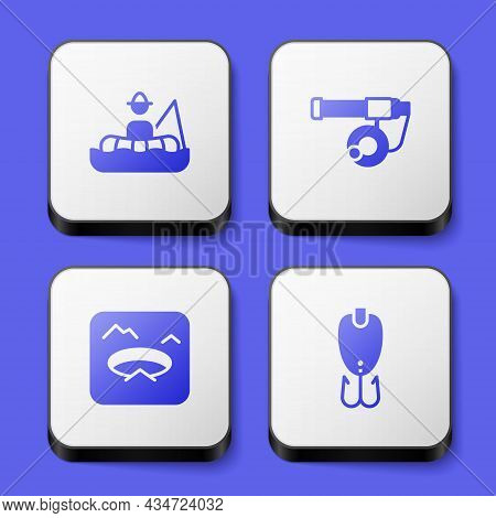 Set Fisherman In Boat, Fishing Rod, Winter Fishing And Lure Icon. White Square Button. Vector
