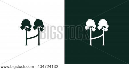 Logo Design Initials Letter H A Combination Of A Unique And Elegant Tree