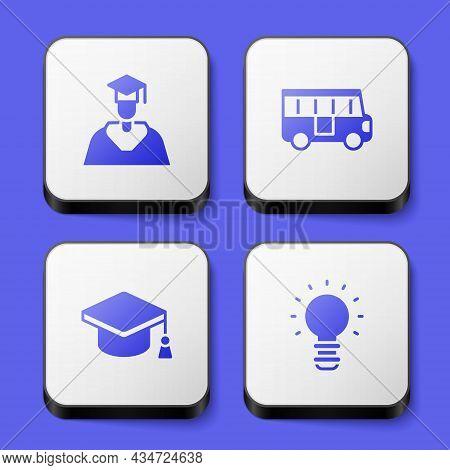 Set Graduate And Graduation Cap, School Bus, Graduation And Creative Lamp Light Idea Icon. White Squ