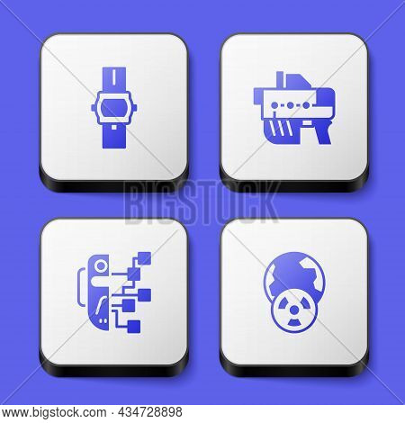 Set Wrist Watch, Futuristic Weapon, Humanoid Robot And Planet Earth And Radiation Icon. White Square