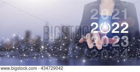 2022 New Smart Technology, And New Technology Trend In 2022. Hand Touch Digital Screen Hologram 2022