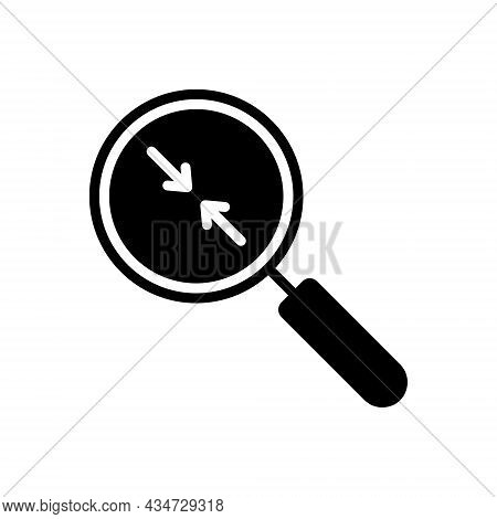 Black Solid Icon For Closer Near Nigh Magnifier Analyze Evaluation Enlarge Equipment Inspection Inve