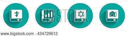 Set Holy Bible Book, Financial, Jewish Torah And Photo Album Gallery Icon With Long Shadow. Vector
