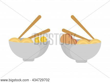 Illustration Of Noodles And Eggs, And Noodles And Meatballs In A Bowl With Chopsticks On It