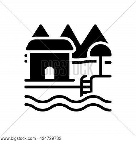 Black Solid Icon For Resort Spot Holiday-destination Holiday Hotel Beach-house House
