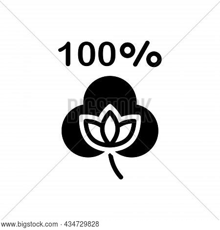 Black Solid Icon For Cotton Fabric Brand Boll Percentage Natural Bud Material Organic Textile Cloth